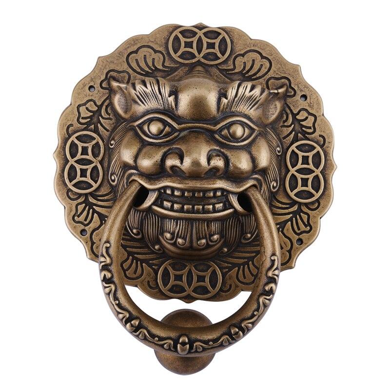 خاتم سحب باب نحاسي ، رأس أسد ونمر ، مقبض على الطراز الصيني القديم ، وحش خشبي