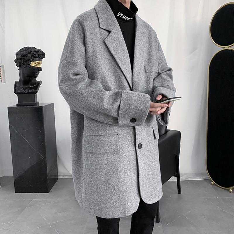 معطف رجالي طويل مقاوم للرياح من القماش ، سترة واقية فضفاضة بصدر واحد ، ملابس غير رسمية ، ربيع خريف ، BG50TH