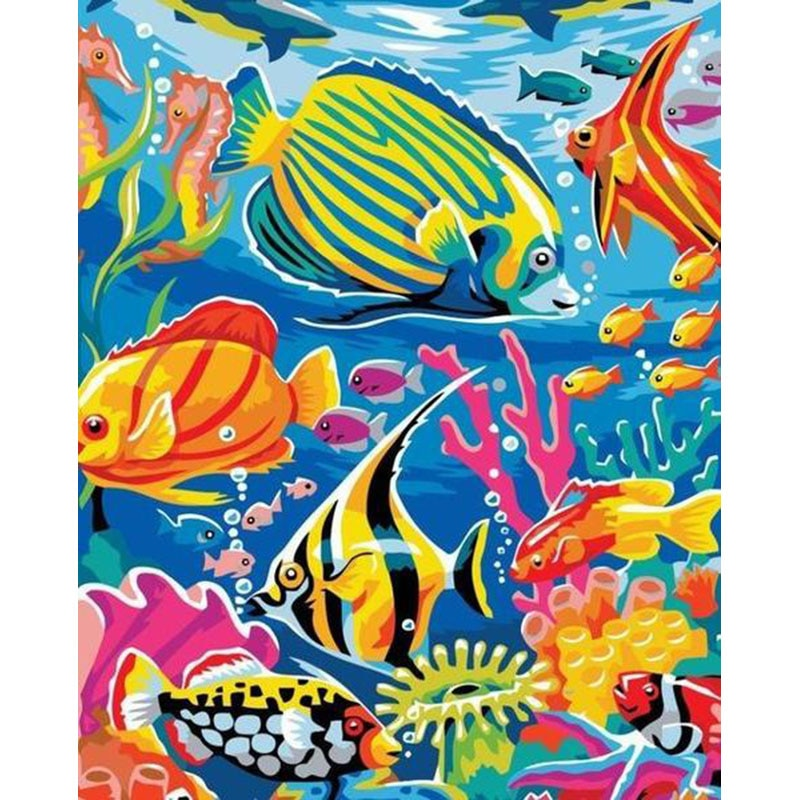 Pez Tropical group.40x50cm, pintura por números, DIY, arte de pared, decoración de sala de estar, paisaje, figura, Animal, flor, dibujos animados