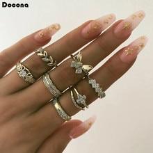 Docona 7 قطعة/مجموعة الفاخرة الذهب خواتم للنساء جميل فراشة لامعة الكريستال حجر يترك هندسية الزفاف خاتم 9073