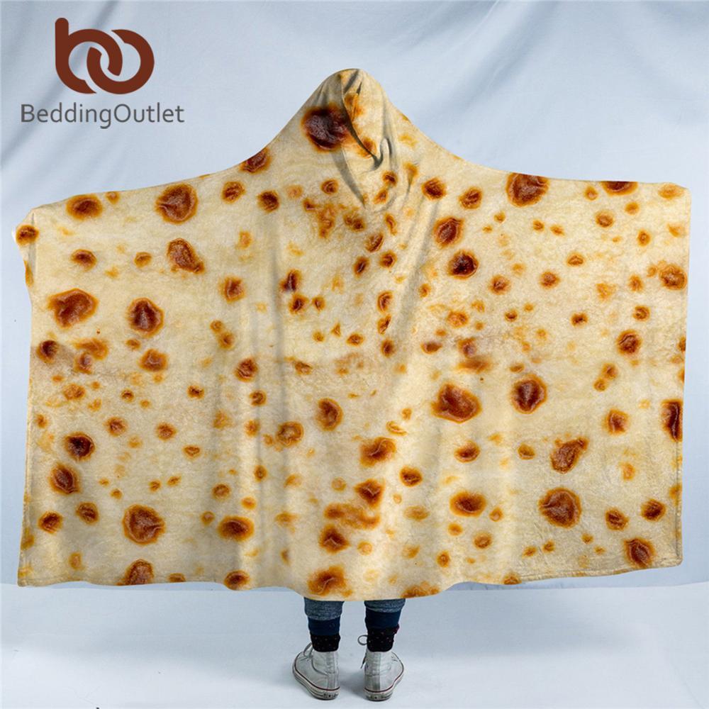 BeddingOutlet-بطانية بغطاء للرأس من الصوف المصنوع من الألياف الدقيقة ، وغطاء رأس بنمط تورتيلا ، ثلاثي الأبعاد ، مضحك ، يمكن ارتداؤها