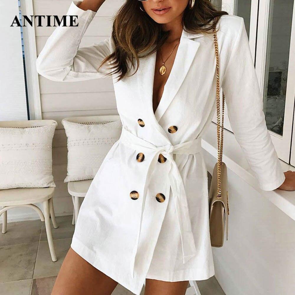 Antime, Blazer blanco para mujer, chaqueta con cinturón de cordones con muescas, doble botonadura, abrigo de talla grande para otoño e invierno, chaqueta de calle alta
