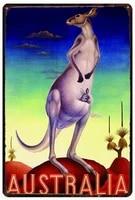 australia kangaroo poster funny art decor vintage aluminum retro metal tin sign painting decorative signs