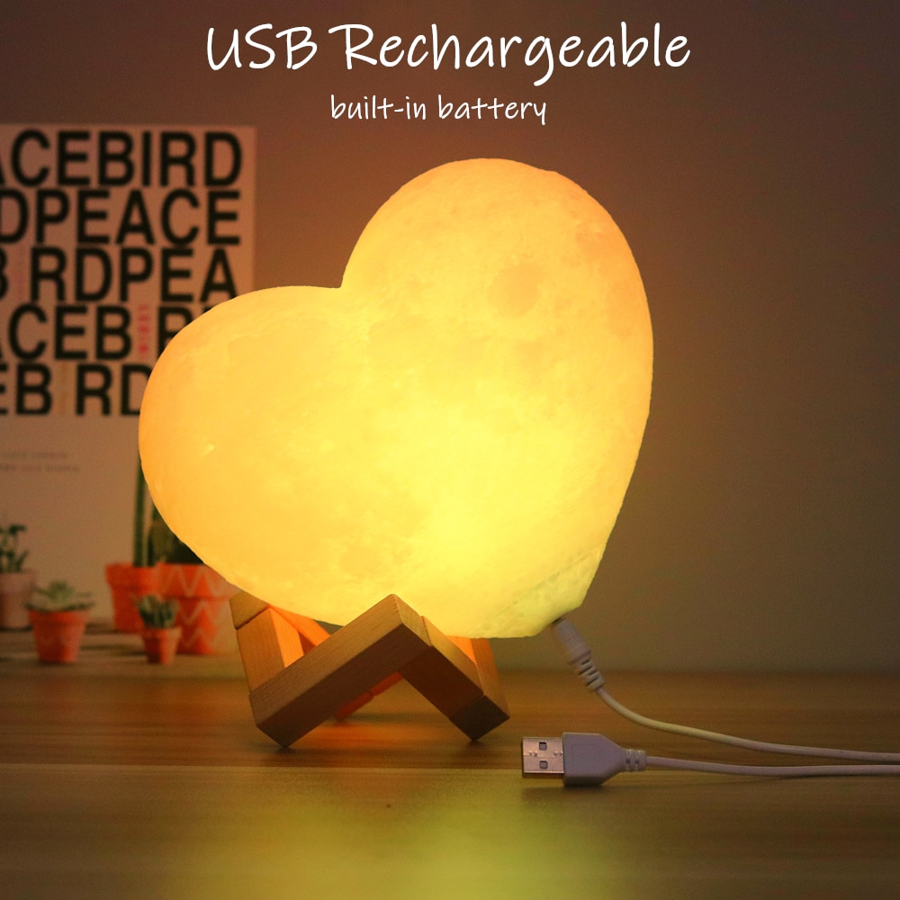 anime led light Fixtures Heart Shape Moon Lamp 3D Print USB Rechargeable Color Change Touch Lighting