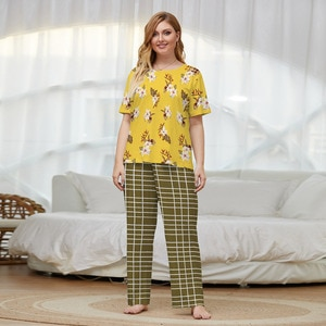 Summer Women Plus Size Pajama Suits Yellow Floral Printed Short Sleeves Tops and Plaid Long Pants Loose Sleepwear Sets Women