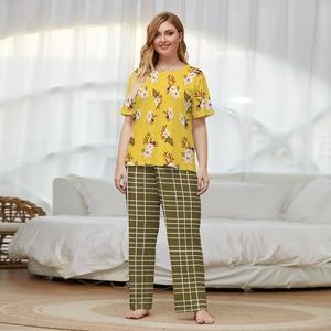 Летние женские пижамные костюмы больших размеров с желтым цветочным принтом, топы с короткими рукавами и клетчатые длинные штаны, свободны...
