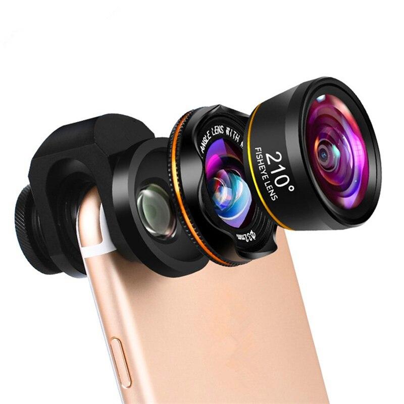 Orsda HD Universal 3 en 1 juegos de lentes de cámara de teléfono 210 grados Lente ojo de pez 0.6X gran angular 15X Macro lente para la mayoría de los teléfonos inteligentes