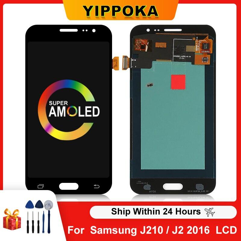 قطع غيار أصلية من AMOLED لهاتف سامسونج Galaxy J2 2016 J210 LCD J210F J210M تعمل باللمس مع قطع غيار شحن مجاني