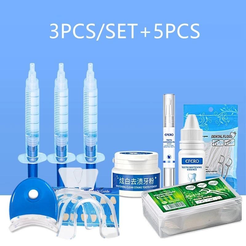 8PCS/SET Teeth Whitening Kit Dental Peroxide Whitening Pen Powder Essence Gel Serum Dental Floss Picks Teeth Toothpicks Stick