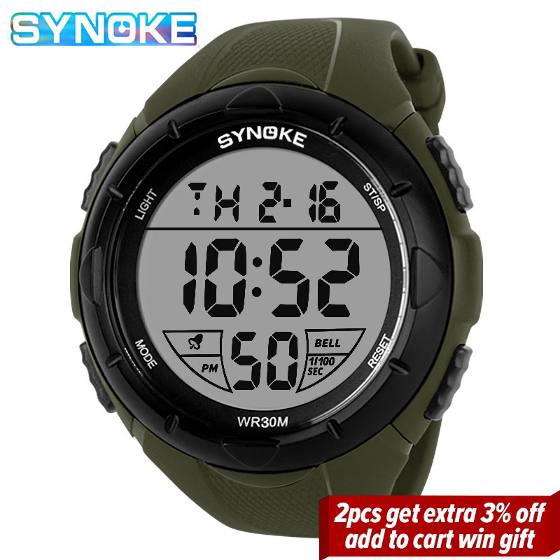 SYNOKE Outdoor Sports Electronic Watches Chrono Shock Resistant Wristwatches Mens Waterproof Digital Alarm Men Clock Male Watch
