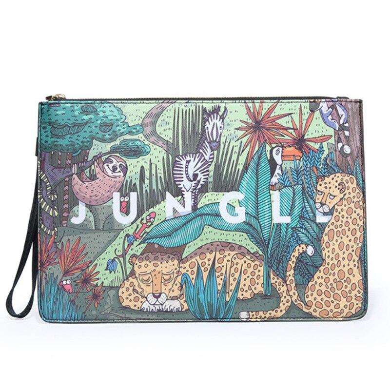 Клатчи в Корейском стиле с животным принтом, мужской вместительный клатч-конверт, модный дизайнерский мужской клатч, ручные сумки, сумка дл...