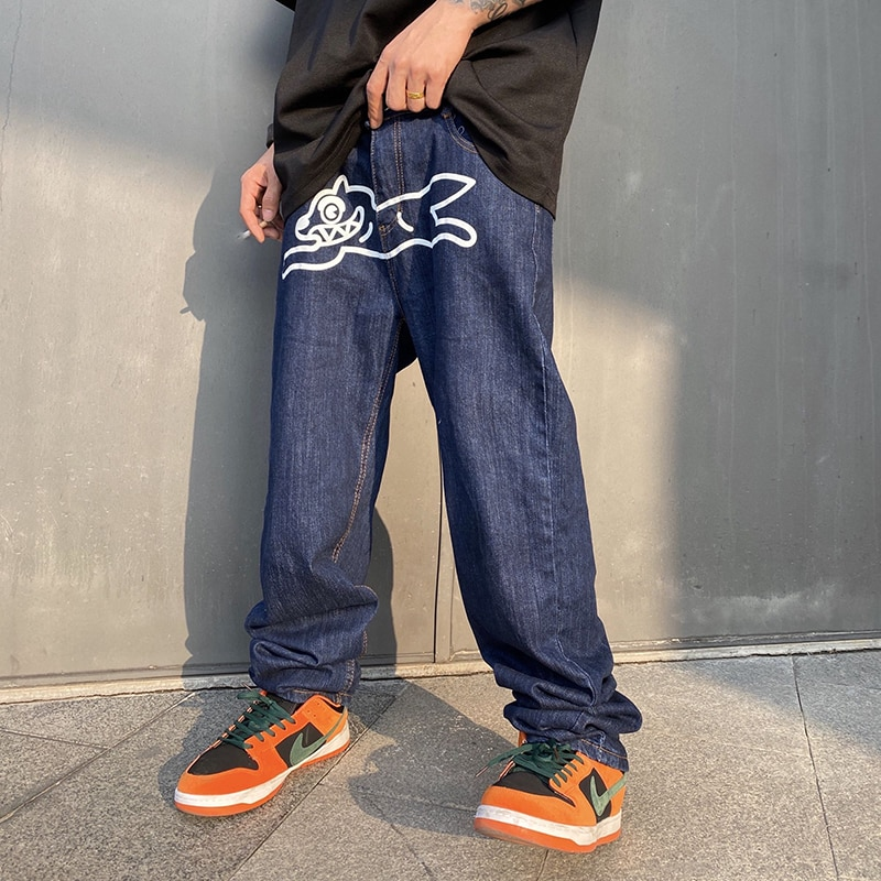 Flying Dog Print Straight Loose Jeans Mens Retro High Street Oversize Casual Denim Trousers Harajuku Washed Hip Hop Jean Pants