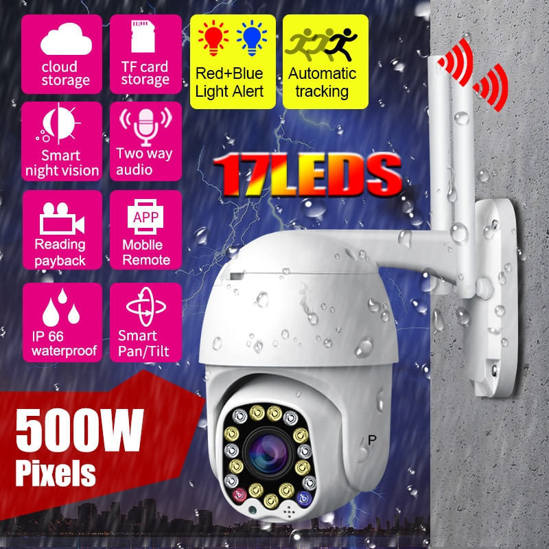 5MP PTZ IP Camera Wifi Outdoor AI Human Detection Two Audio Wireless Security CCTV Camera P2P 4X Dig