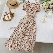 2019 new fashion women's dresses  French Floral Dress Summer Short Sleeve Tie Irregular Ruffle