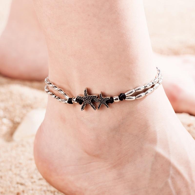 Tobillera colgante de yoga con estrella de mar clásica étnica, tobillera hecha a mano para la playa, Bohemia para mujeres y niñas tobillera, regalo nuevo