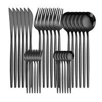 black cutlery stainless steel tableware set dish forks knives spoons kitchen dinner set fork spoon knife gold dinnerware sets