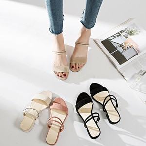 2020 Summer Shoes Woman Fashion Sandals Narrow Band Suqare Heel Flock Slippers Ladies Low Heel Slides Open Toe Female Footwear