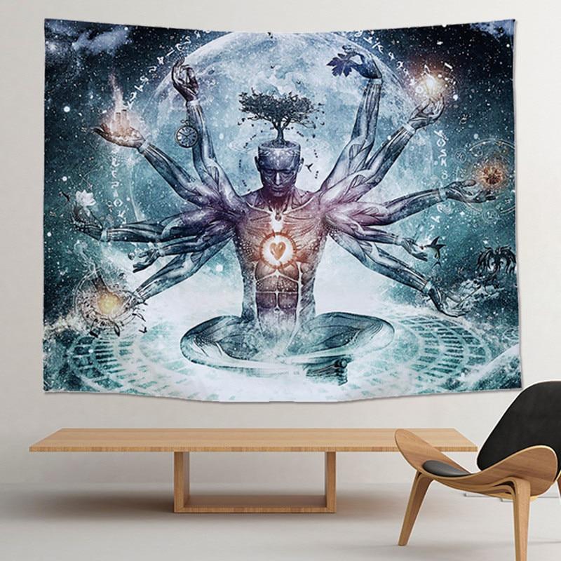 Индийский гобелен статуя Будды медитация чакра гобелен Настенный Гобелен Мандала гобелены настенная ткань психоделический Коврик для йоги бохо