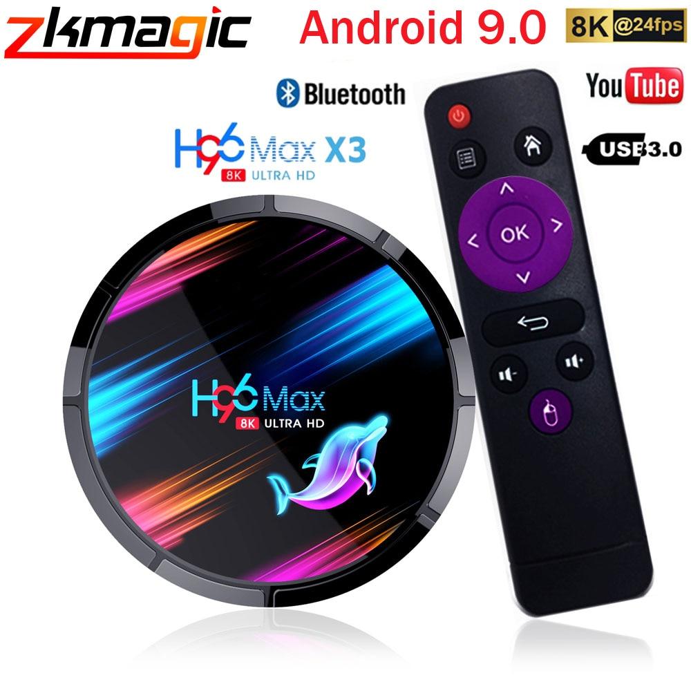 Android 9,0 H96 MAX X3 1000M Dispositivo de TV inteligente Amlogic S905X3 8K 4GB 128GB 64GB 2,4G y 5G Wifi BT 4K reproductor de medios Android decodificador