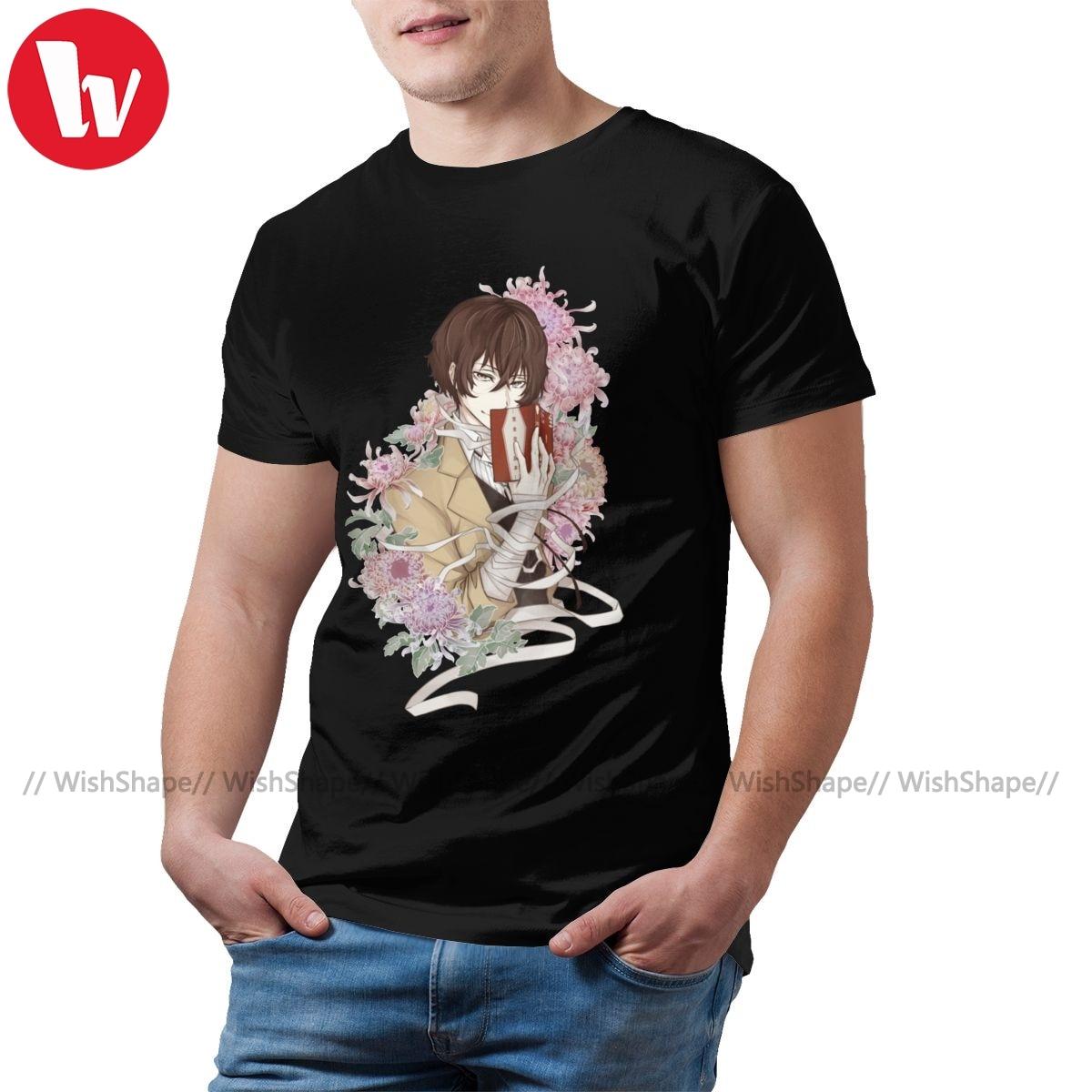 Camiseta con perros callejeros Bungou, camiseta Dazai, camiseta de manga corta para hombre, Camiseta con estampado informal de algodón 5x