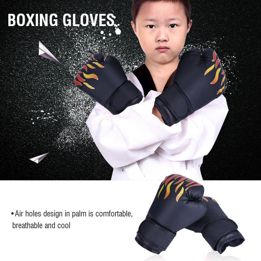 economy fitness family boxing suite child gift toy training mma muay thai fighting boxing gloves punching mitts foot pad target Child Professional Boxing Gloves Kids Training Fighting Gloves Muay Thai Sparring Punching Kickboxing Breathable PU Flame Gloves