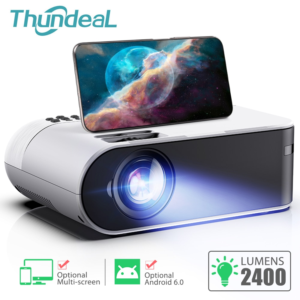 ThundeaL TD60 Mini Projector Portable WiFi Android 6.0 Home Cinema for 1080P Video Proyector 2400 Lu