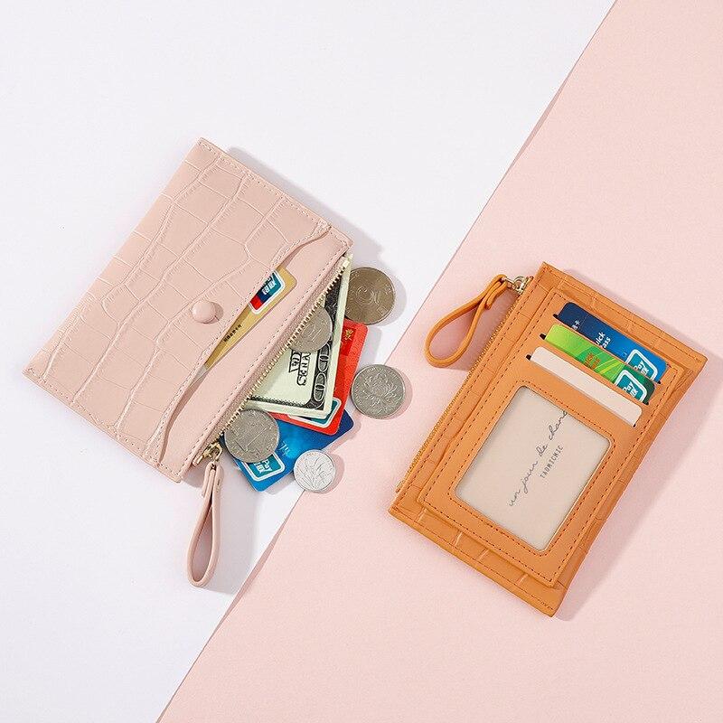 Women Credit Card Holder Mini Small Fashion Unisex Business Pu Leather Wallet Purse Lichee Pattern Bank Case Accessories