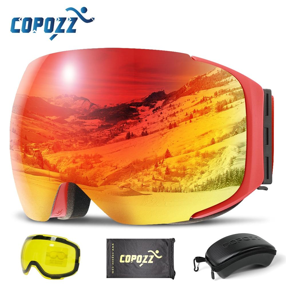COPOZZ المغناطيسي نظارات التزلج مع سريعة التغيير عدسة وحالة مجموعة 100% UV400 حماية مكافحة الضباب على الجليد نظارات للرجال والنساء