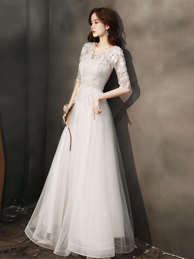 Get 21 luxury design fashion simple women's sexy V-neck banquet dress slim lace temperament medium sleeve white wedding dress
