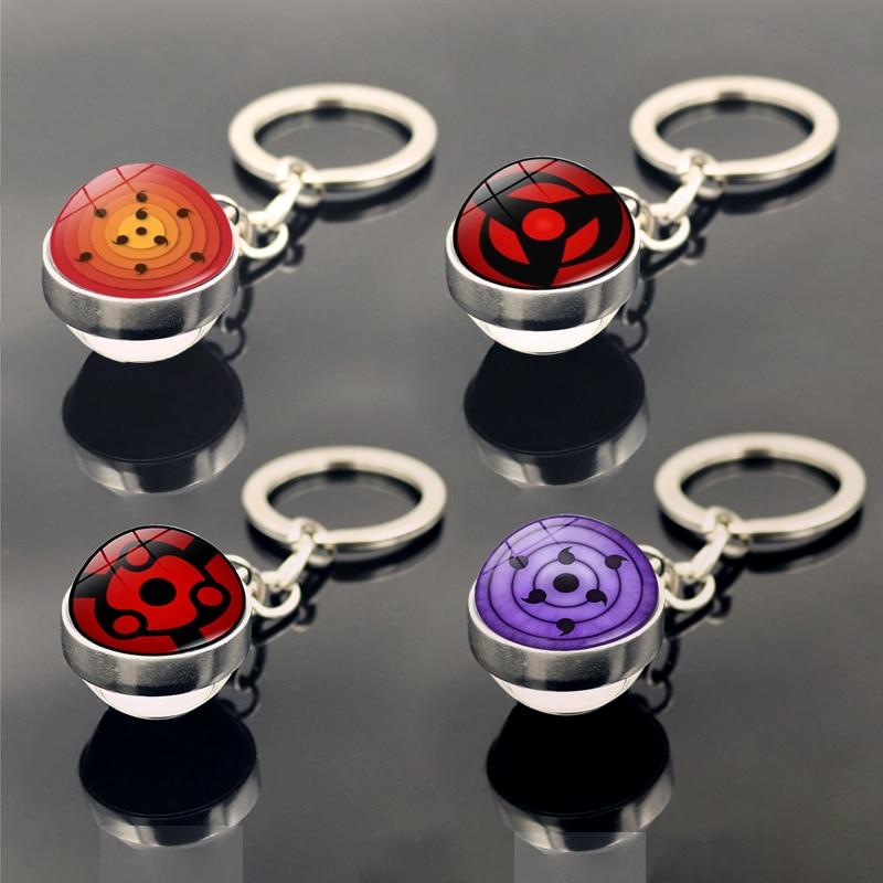 Брелок для ключей с аниме Наруто Шаринган, аксессуары для автомобиля, сумки, Шарм, кулон, мультяшная модель глаз учихи, брелок для ключей, игр...