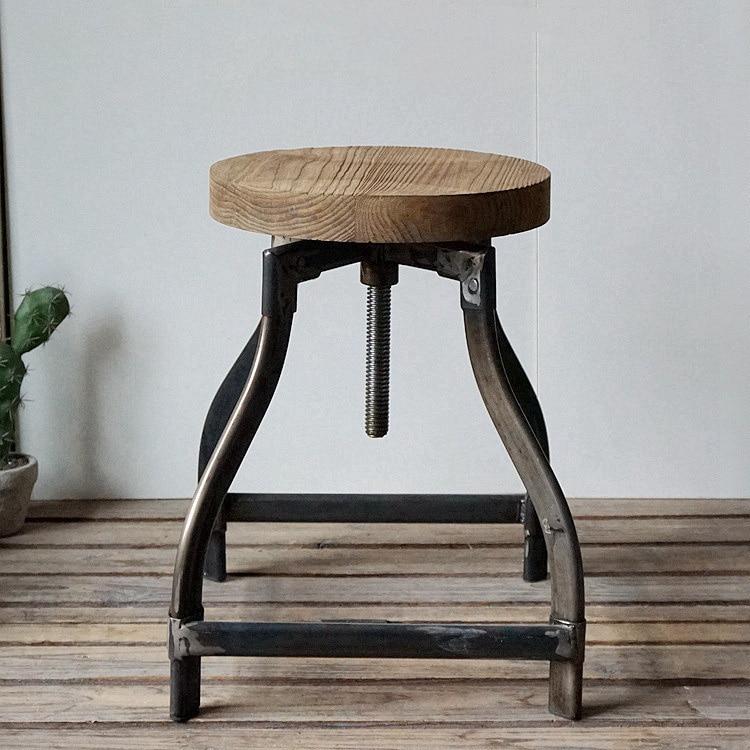 Деревянные круглые металлические винтажные промышленные барные стулья