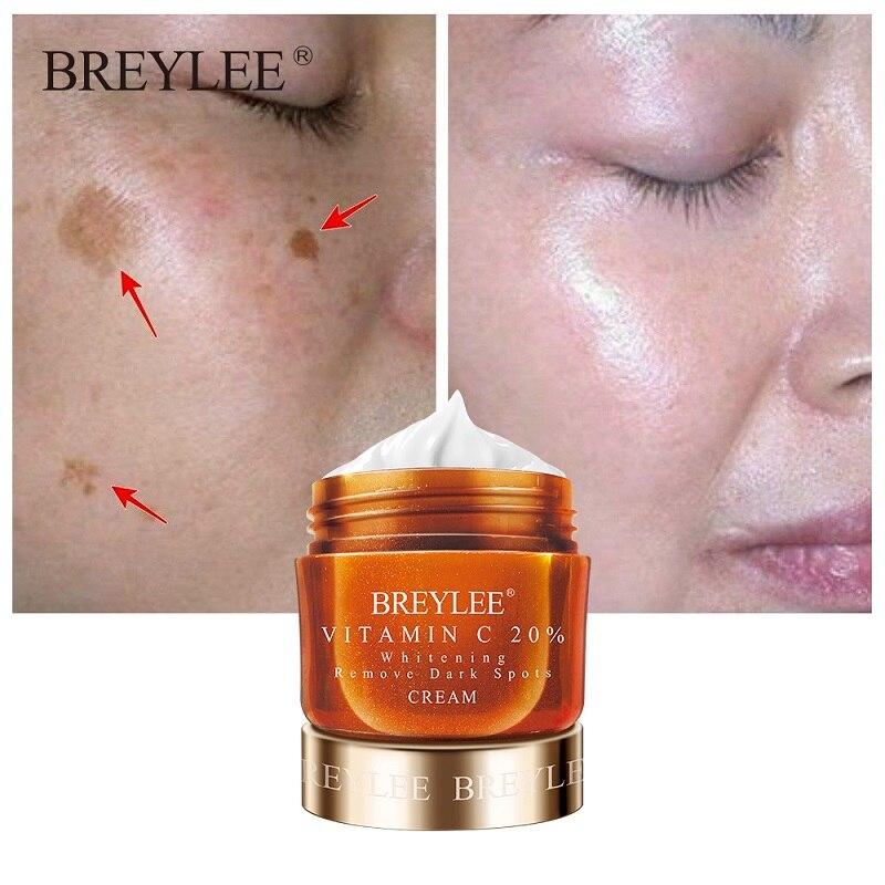 BREYLEE Витамин С отбеливающий крем для лица выцветающие веснушки для удаления темных пятен меланин Осветляющий, увлажняющий крем для лица