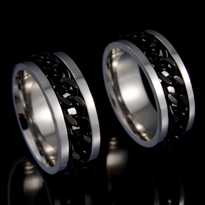 Anillo de cadena de moda de Rock Hip Hop para parejas, anillo de compromiso, anillo de boda, Colgante Punk, Accesorios de Metal