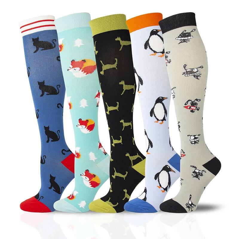 Calcetín de compresión Unisex 2020 con animales, calcetines divertidos de zorro, pingüino, Gato y conejo, venas varicosas, presión arterial, moda para actividades al aire libre
