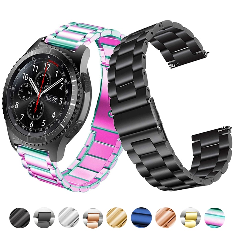 Watch Band Strap For SAMSUNG Galaxy Watch 42mm 46mm GEAR S3 Active2 Classic Quick Release Stainless Steel 18mm 22mm 20mm 24mm 22mm stainless steel strap for samsung galaxy 46 gear s3 classic frontier watch band wrist 20mm bracelet silver quick release