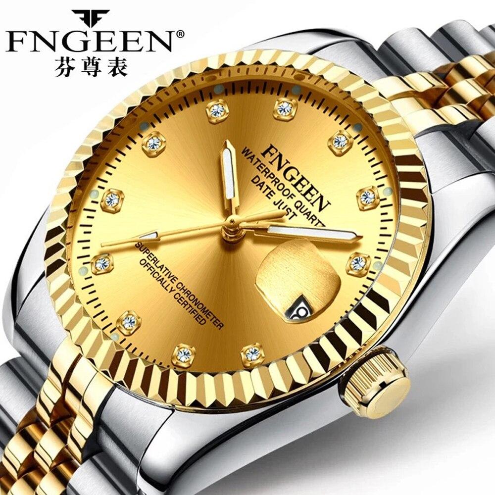 Dropshipping Men's Watch Fashion Luxury Business Quartz Wrist Watch Gold Steel Waterproof Date Hodin
