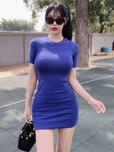 Nuevas camisetas sexy para mujer, camisetas de manga corta para verano, Harajuku Tumblr, Camiseta larga azul para mujer, Vestido femenino B67