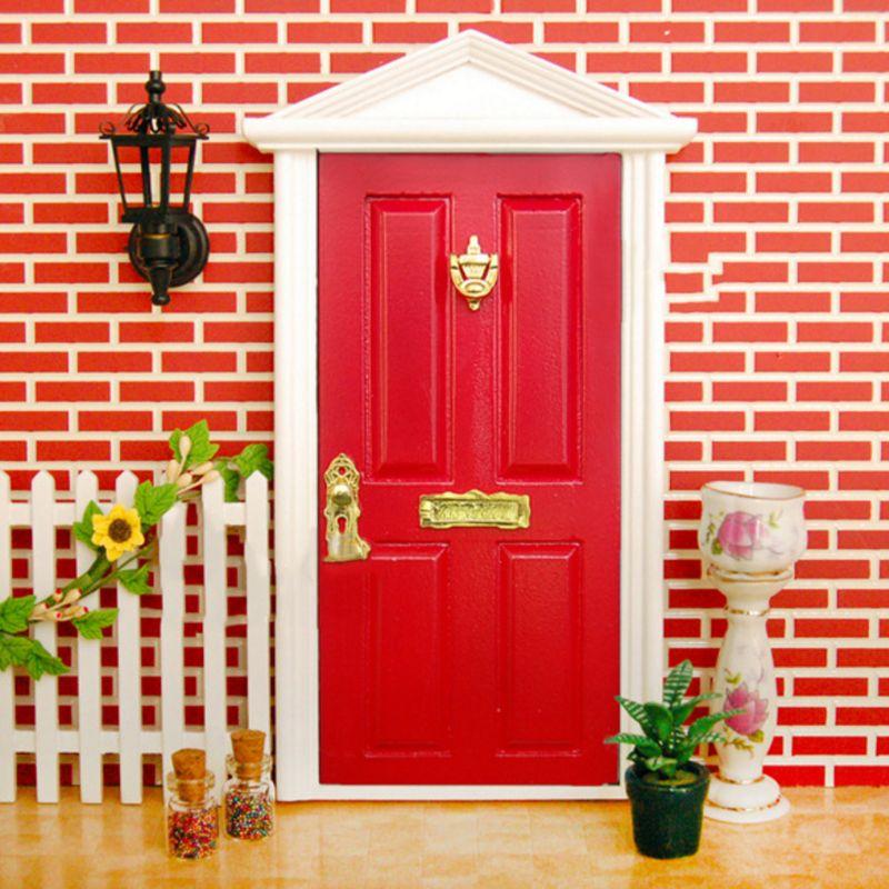112 escala casa de bonecas madeira em miniatura porta de fadas knocker doorplate fechadura acessórios de ferragem chave