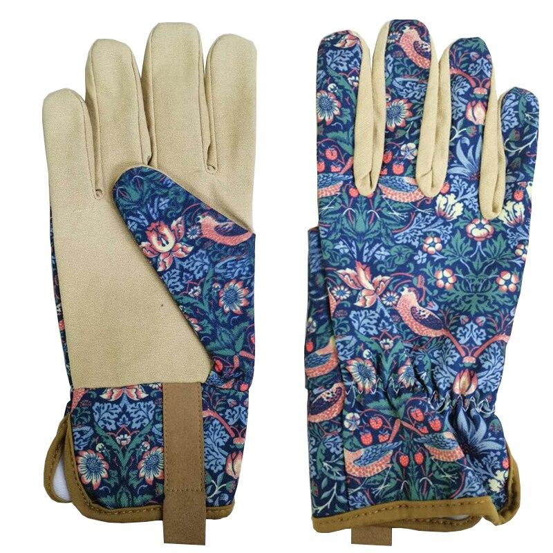 Flower Printing Women Outdoor Gardening Work Garden Gloves