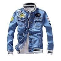 Джинсовая куртка мужская с воротником-стойкой, приталенный силуэт, пилот, на молнии, Повседневная Уличная одежда, модные свободные джинсовы...