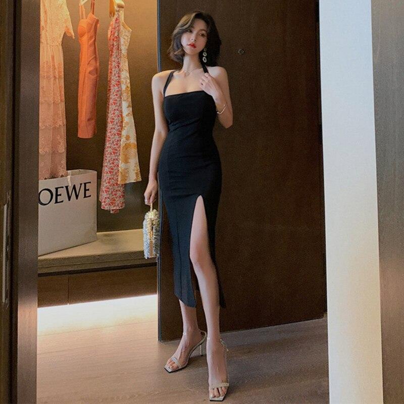 2020 mujeres Split Strapless Halter Vestidos elegantes Vintage vendaje negro ceñido al cuerpo vestido de verano Sexy Club Party Vestidos