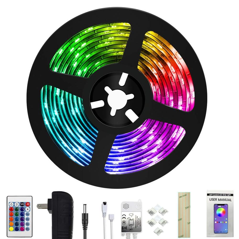 Tira de luces LED de pies-(nueva versión) luces de cambio de Color de sincronización de música con + 50% de brillo 5050 LED RGB y cinta adhesiva fuerte, aplicación ..