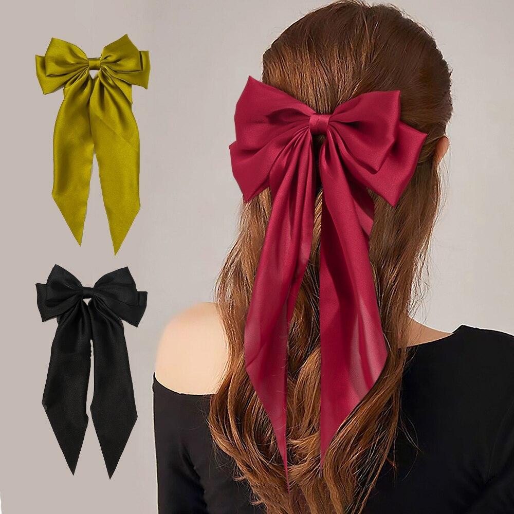 2021 Новинка весны из сатина для девочек с бантом и повязка на голову, модный шпилька для лент темперамент, бант из ленты, женский головной убор женские аксессуары для волос| |   | АлиЭкспресс