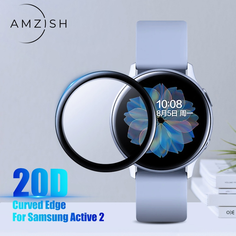 amzish 20D Curved Edge Screen protector Glass For Samsung galaxy Watch Active 2 40mm 44mm Protective Tempered Glass