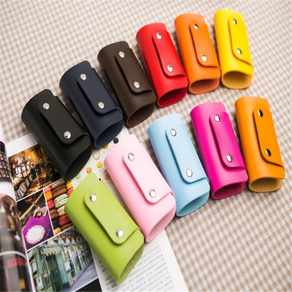 1 Pc PU Leather Housekeeper Holders Car Keychain Key Holder Bag Case Wallet Cover Leather Key Holder