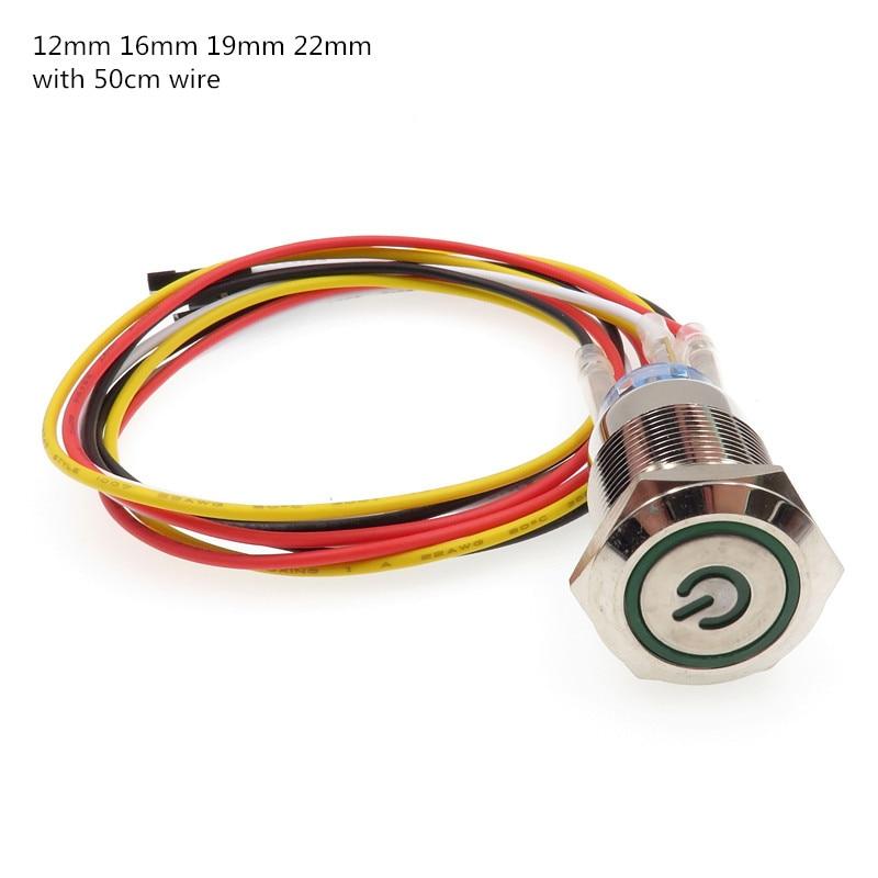1 sztuk komputer metalowy przycisk zasilania LED przełącznik On-off 5V 12mm 16mm 19mm 22mm wodoodporny z 50cm wiązki przewodów gniazdo zasilania