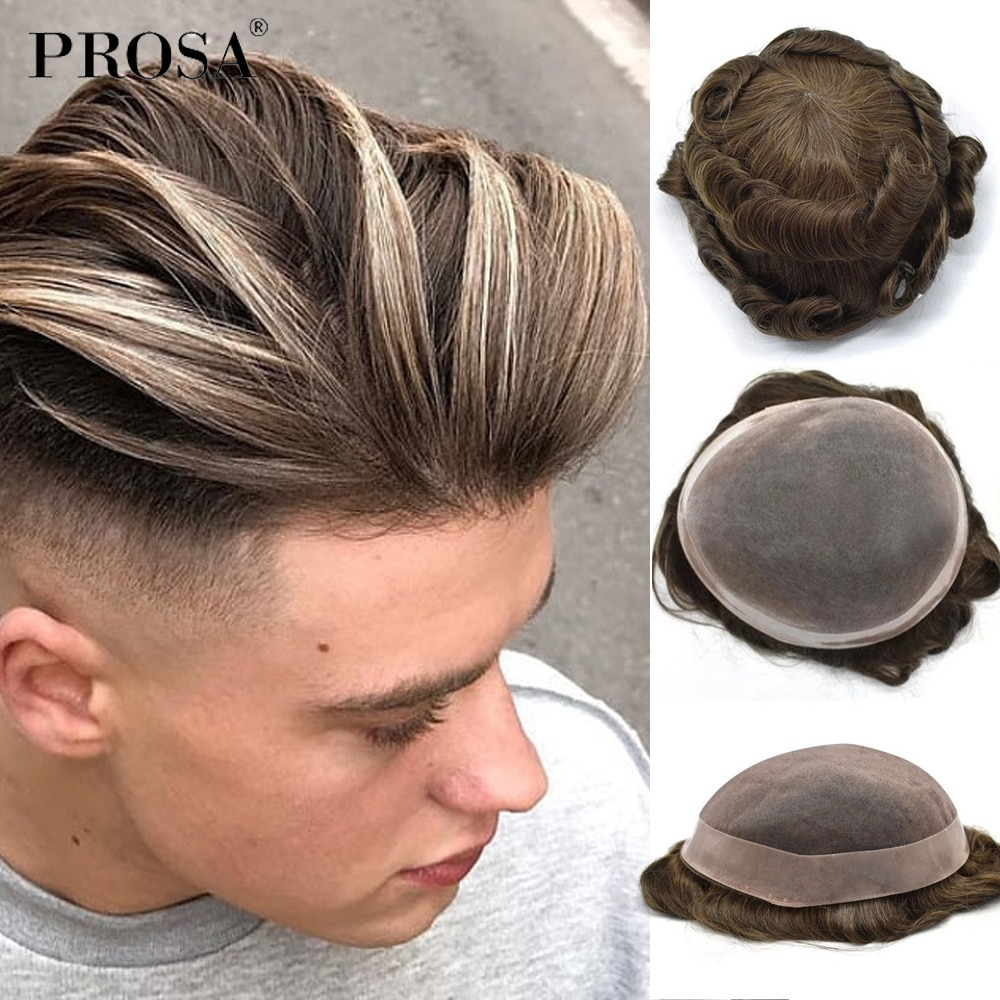 7x9 Slight Wave Mono With Poly Natural Men's Toupee Men Super Thin Natural Wig Man Hair System for Men Fashion Male Hairpiece