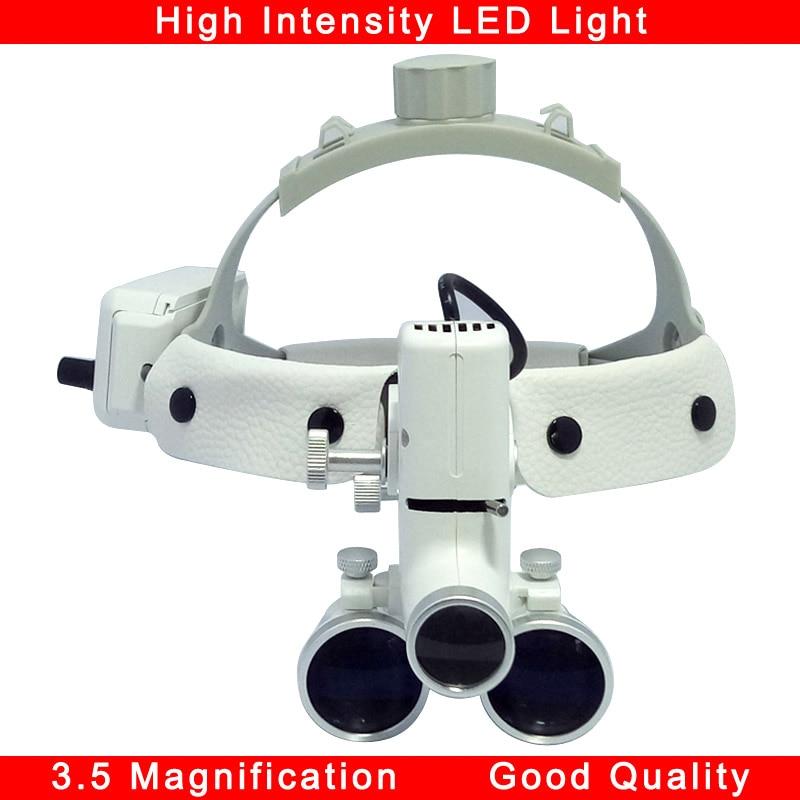 المكبر 3.5 مع ضوء LED ، مصباح أمامي عالي الكثافة ، المكبر الجراحي ، المكبر الطبي ، جراحة الأسنان