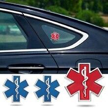 Voiture modifié autocollant en métal étoile de la vie Logo bleu Ambulance durgence Logo Badge voiture côté garde-boue tronc décoration accessoires