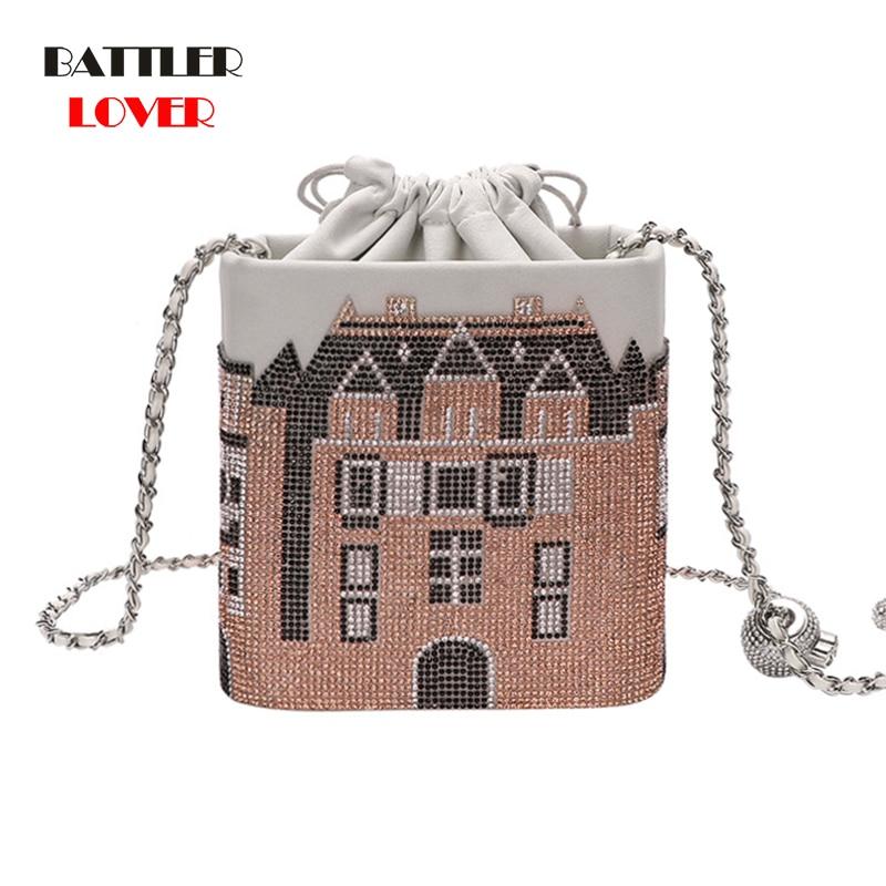 Luxury Diamond Castle Hand Bag for Women 2021 Trend New Designer Crystal Box Handbag female Crossbody Shoulder Purse Dinner Case